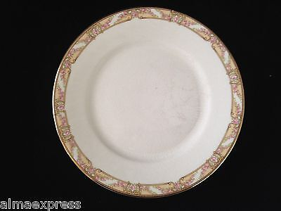 "RARE Homer Laughlin Empress China E1315M Pink Roses Gold 7-7/8"" LUNCHEON PLATE"