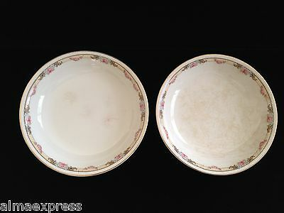 Lot of 2 KT&K Knowles Taylor Ivory Semi Vitreous China Roses Yellow SOUP BOWL