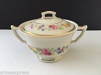 Syracuse China CLIFTONDALE Old Ivory Multicolor Flowers- SUGAR BOWL W/ LID