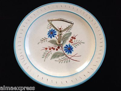 """Stangl 10-1/8"""" Hand Painted Blue Daisy Handled Oven Proof Serving Plate / Dish"""