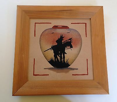 Beautiful Native American Style Framed Sand Art of Indian Horse Feather Pottery