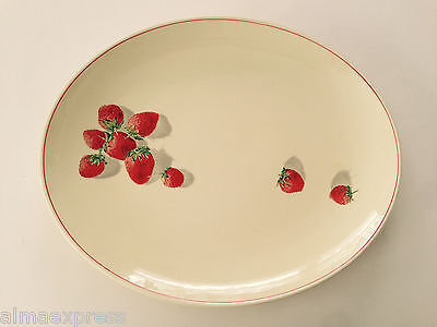 "WS George Cavitt Shaw SHORTCAKE 184A Strawberry - 13-1/2"" OVAL SERVING PLATTER"