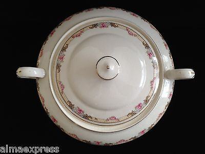 KT&K Knowles Taylor Ivory Semi Vitreous China Roses Yellow LIDDED CASSEROLE 34B