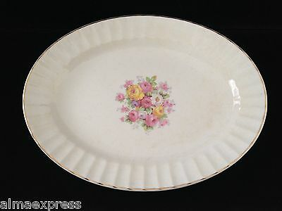 "Edwin Knowles China KNO246 246 46 Rose Gold Fluted - 13-1/2"" SERVING PLATTER"