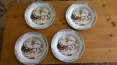 """Set of 4 Currier and Ives Plates 8 """" 2001 Horse Sleigh Winter NY Museum"""