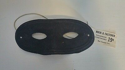 Vintage Ben Cooper Halloween Black Eye Mask with Original Tag