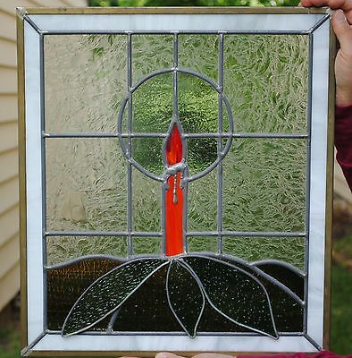 Stained Glass Window Door Panel - Art Handmade Home Decor - Christmas Candle