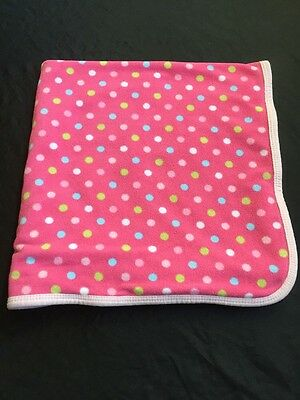 Carter's Baby Blanket Security Lovey Pink Polka Dots Fleece One Size