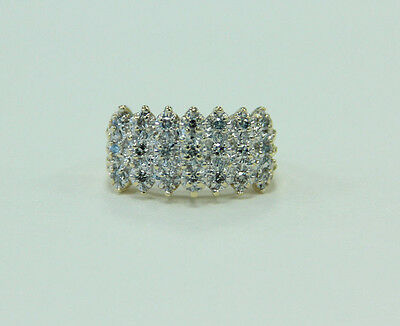 Estate Jewelry 10K Yellow and White Gold Ring 21 White Diamonds in Pyramid Rows