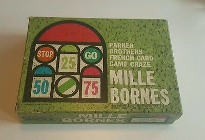 Vtg 1964 Parker Brothers Mille Bornes French Auto Race Card Game Complete!