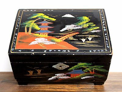 Royal Japan Black Painted Lacquered Windup Music Mirror Oriental Jewelry Key Box