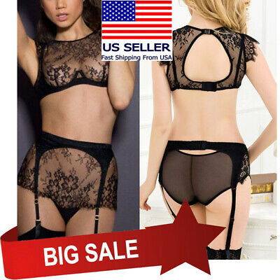 86bf692dfb7023 2PC Sheer Black Floral Lace Wire Bra Top Garter Panty Boudoir Lingerie Set  M-5XL