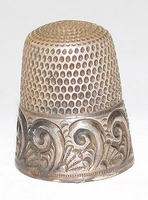 Large Vintage Scroll Etched Sterling Silver Sewing Thimble S Shield Makers Mark