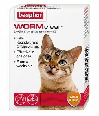 Beaphar WORMclear Cat Kitten Roundworm Tapeworm One Dose Worming Tablet
