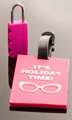 PINK LUGGAGE ID TAG & TRAVEL PADLOCK Holiday Case Baggage Suitcase Lock New