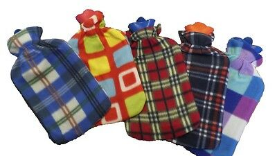 New Warm Soft 2 Liter Large Hot Water Bottle With Removable Pattern Fleece Cover