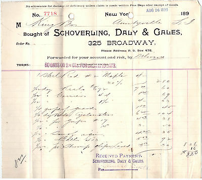1899 Billhead New York Schoverling Daly & Gales