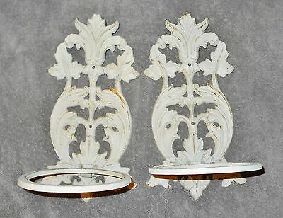 PAIR of WHITE CAST IRON WALL SCONCE LAMP or PLANT HOLDERS