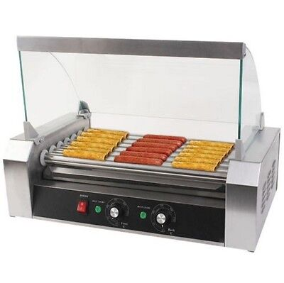 New Quality Commercial 18 Hot Dog Hotdog 7 Roller Grill Cooker Machine w/ cover