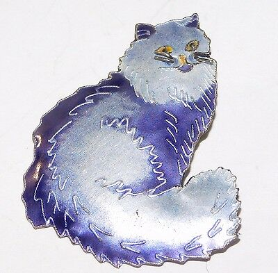 Sterling Silver & Purple Enamel Siamese Cat Pin Zarah?
