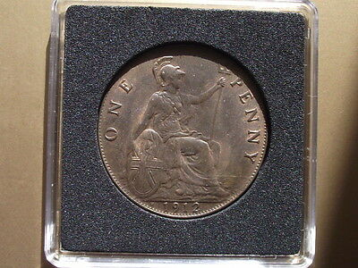 1912 H George V Uncirculated Penny With About 50% Lustre High Quality Coin .
