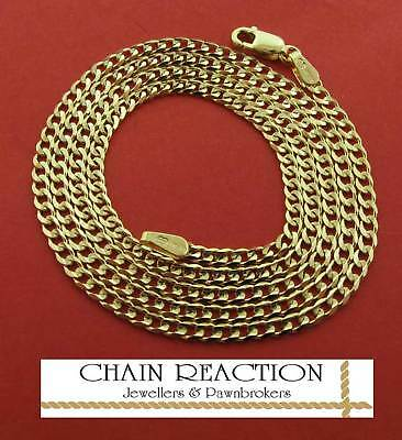 "375 Solid 9Ct Gold 16"" Flat Diamond Cut Link Curb Chain Necklace Gift Box"