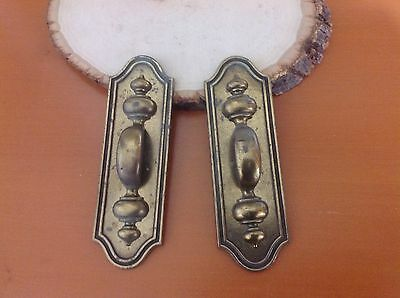 300 Vintage Brass Handles With Back Plates.  Keller Brass Co. Set Of 2 Each