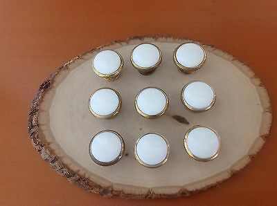 607 VTG White Porcelain Knobs Wt Metal  Set Of 3 Shabby Chic!