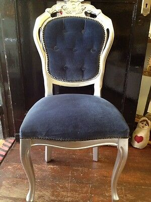 Stunning Silver Blue STATEMENT CHAIR Rococo French Louis Regency Style Original