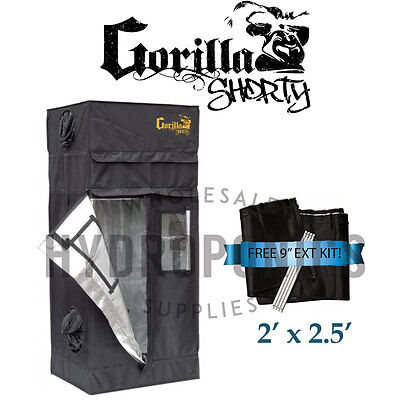 "Gorilla Grow Tent SHORTY 2' x 2.5' x 4' 11"" GGT w/ FREE 9"" Height Extension Kit"