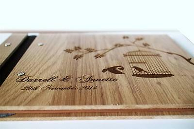 Wedding party wooden customised photo album guest book, rustic style A4 large