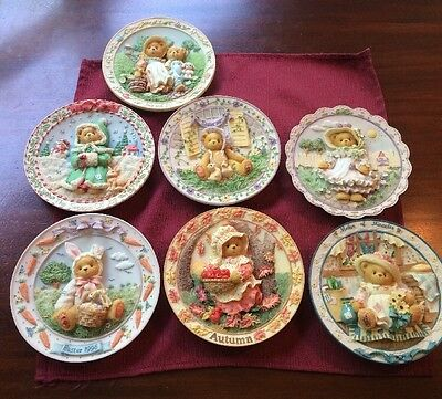 Lot of 7 Cherished Teddies Plates Easter, Mother's Day, Autumn, Christmas, More