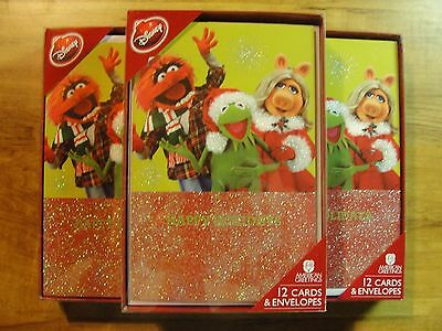 NIB 12 DISNEY Muppets Kermit Miss Piggy CHRISTMAS GREETING CARDS with ENVELOPES