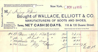 1895 Billhead New York Wallace Elliott Boots and Shoes Manufacturer
