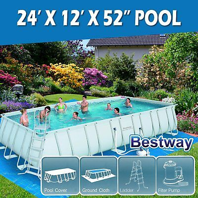 4.12m x 2.01m Bestway Power Steel? Rectangular Frame Above Ground Swimming Pool