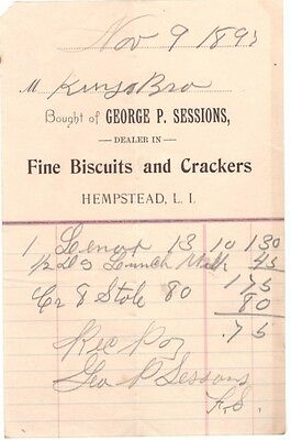 1895 Billhead New York George Sessions Fine Biscuits Crackers