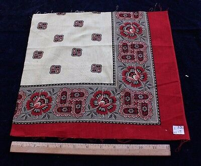 "Antique Classic French Printed Cotton Bandana Sample c1870~12""L X 13""W"