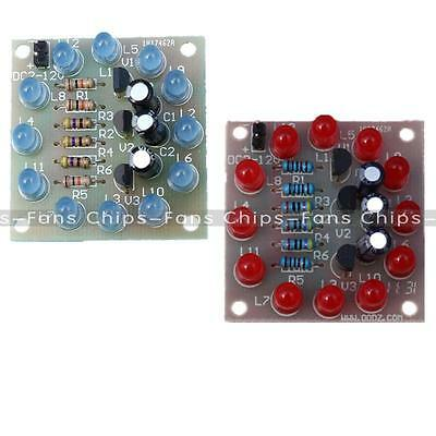 DIY Kit Circular Electronic LED Flash Circuit Light 12Pcs Production Red Blue CF