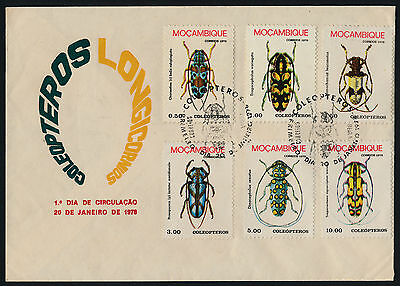 Mozambique 579-84 on FDC - Insects, Beetles