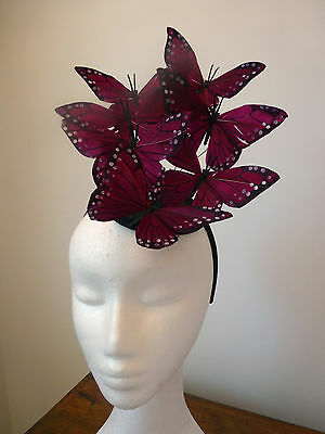 Womens feather butterfly headband fascinator Burgandy,pink,yellow,green,olive