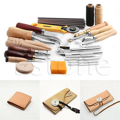 30PCS Set Leather Craft Stitching Carving Hand Sewing Saddle Groover Punch Tool