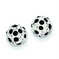 14K Yellow Gold Polished White & Black Crystals 6mm Ball Stud Post Earrings
