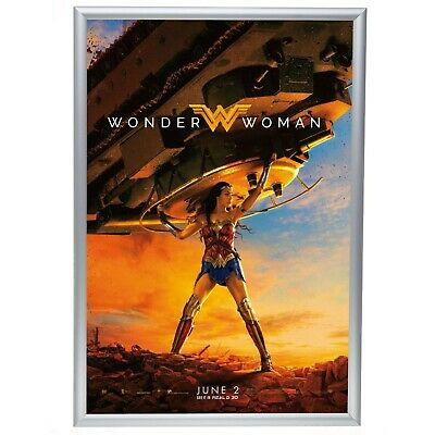 """Silver Movie Poster Frame 24 x 36 Inches, 1"""" Aluminum Profile, Front Loading Sna"""