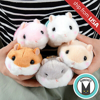 "Genuine 4"" Amuse Coroham Coron Pink Hamster Plush Ball Chain Cute Mascot Japan"