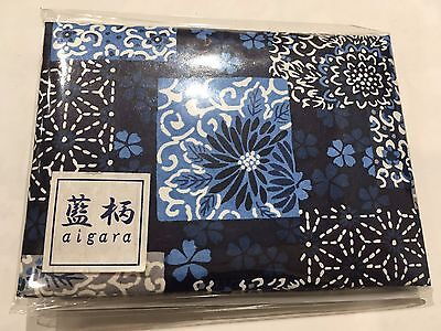 Japanese Ai design Hand Mirror w/ Oil Blotting Papers Blue Square Made in Japan