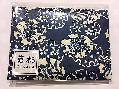 Japanese Ai design Hand Mirror with Oil Blotting Papers Blue Made in Japan F/S