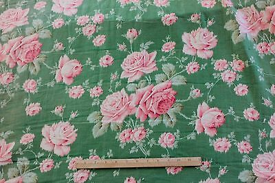 Pretty Victorian c1870 Printed Pink Roses On Green Ground Cotton Fabric Textile