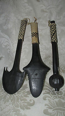 Vintage Style Pacific Oceania 3x. Tribal Native Souvenir Wood Club Weapons