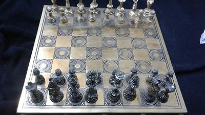 ANTIQUE METAL 32pcs Chessmen Chess Set ONE OF A KIND RARE ca.1950