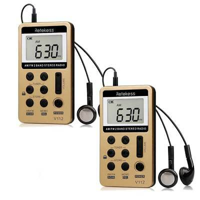 2X Mini FM/AM 2Band Radio Portable Pocket Receiver Rechargeable Battery+Earphone